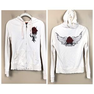 Harley Davidson cream floral zip up sweatshirt